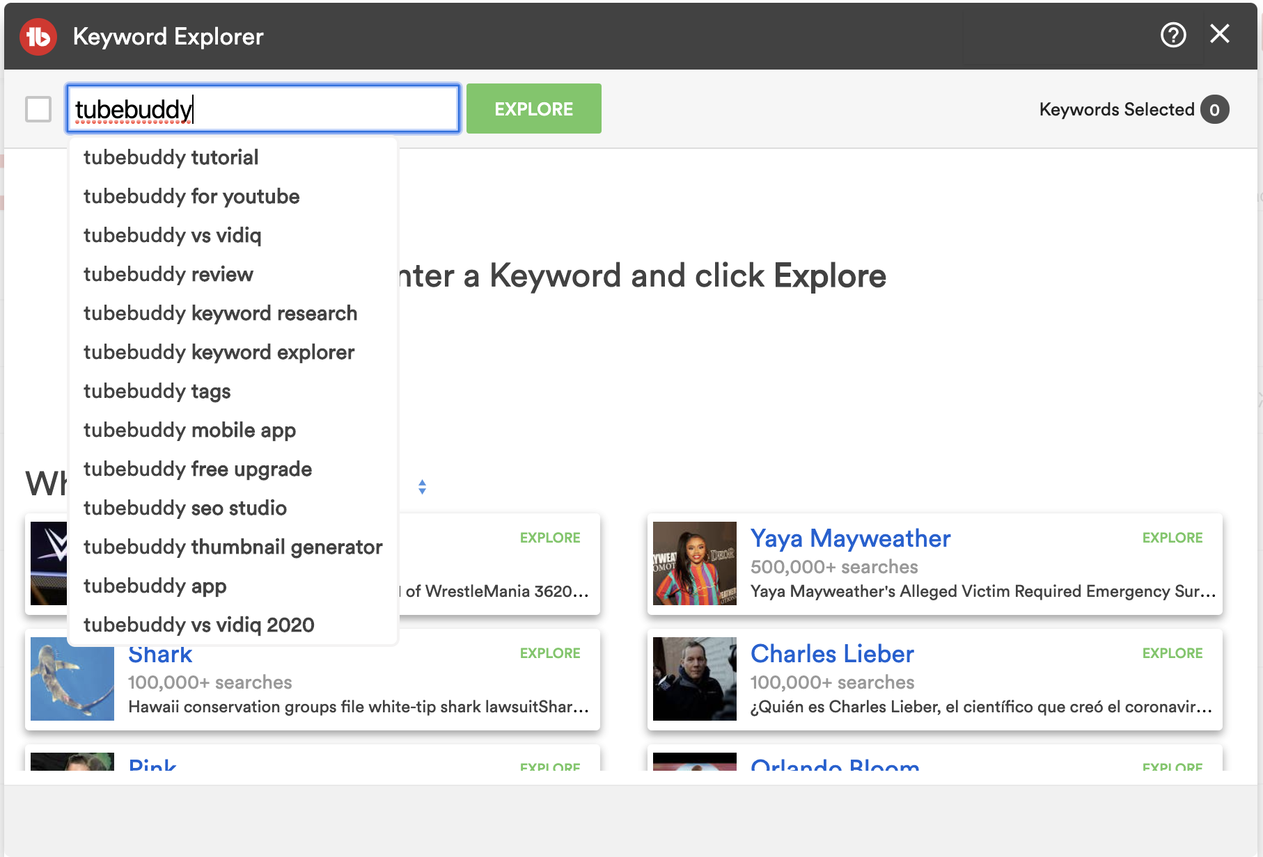 tubebuddy Keywords Explorer